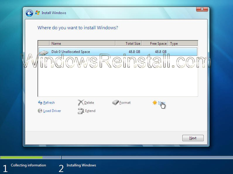 ... otherwise click on drive options to configure the drive yourself